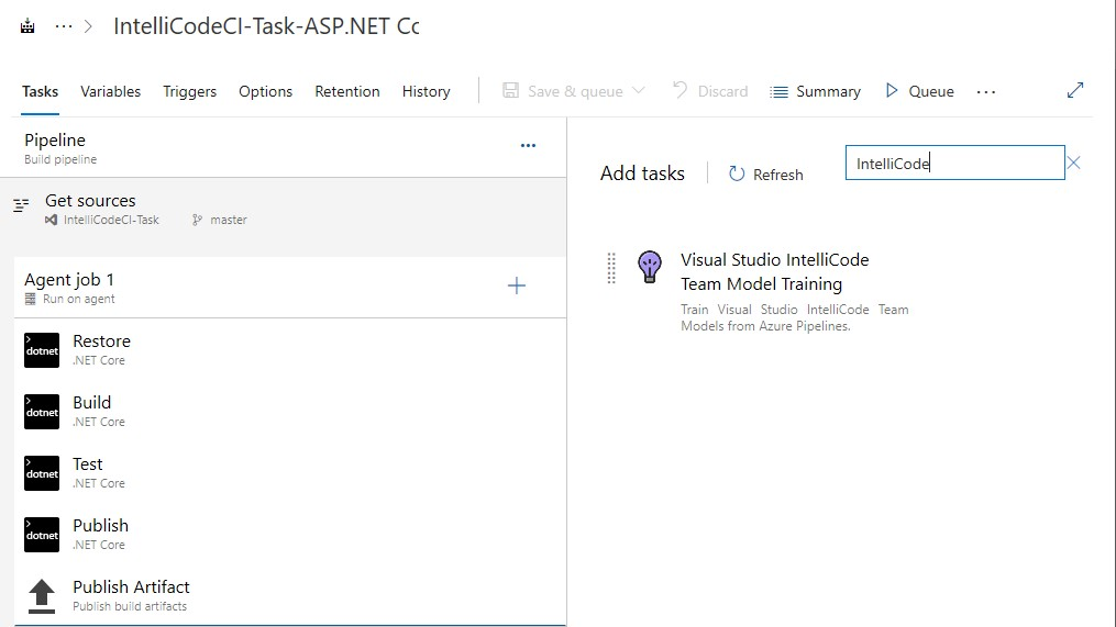 Add training task to pipeline