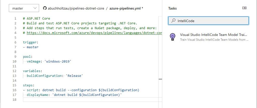 Add IntelliCode build task