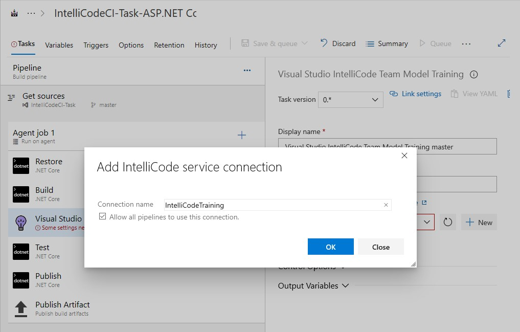 Add IntelliCode service connection