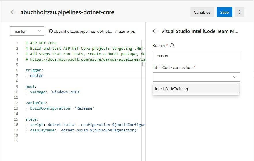 Configure IntelliCode build task